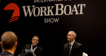 Alan Stout, right, staff engineer, EPA's Office of Transportation and Air Quality, answers a question during a Think Tank session at the International WorkBoat Show in New Orleans in November. Diversified Communications photo