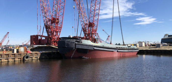 Eastern Shipbuilding Group launched the tug on Dec. 7, 2018, 58 days after Hurricane Michael devastated the Florida Panhandle. Eastern Shipbuilding Group photo