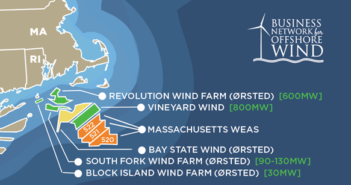 Offshore wind companies paid $405 million for leases (shown in orange) adjoining existing wind energy leases off New England. Image courtesy Business Network for Offshore Wind.