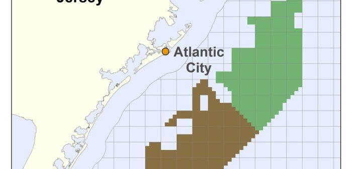 Ørsted plans to develop offshore wind power on a federal lease off New Jersey (brown shading) while EDF and Shell have acquired an adjoining lease from US Wind. BOEM image.