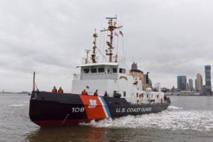 The Thunder Bay, a 140' Bay-class icebreaking tug, in New York Harbor. Coast Guard photo.