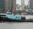 A tugboat in the Hudson River off New York City. Kirk Moore photo.