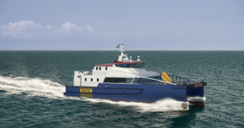 Damen's FCS 3410 is a service accomodations and transfer vessel design for the emerging U.S. offshore wind energy industry. Damen Shipbuilding Group rendering.