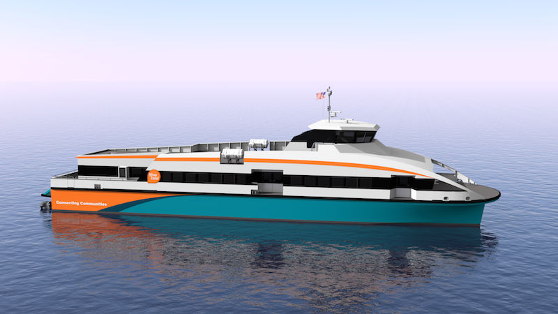 Nichols Brothers will build two 140'x37'x12' aluminum high-speed ferries for Kitsap Transit. Nichols Brothers rendering