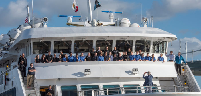 Sven Lindblad and the officers and crew during the National Geographic Venture christening on Treasure Island in San Francisco Bay on Nov. 30, 2018. Lindblad photo