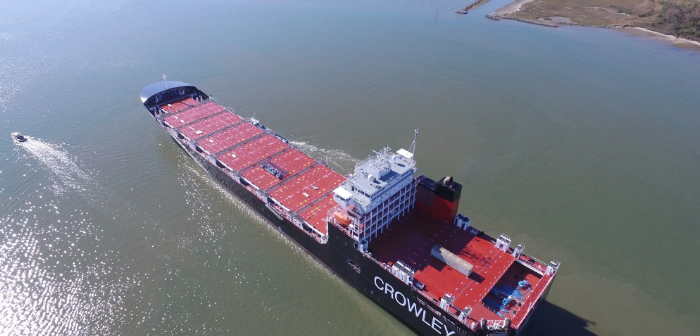 The Taíno is the second of two liquefied natural gas (LNG) fueled ConRo ships for Crowley Maritime Corp. Crowley Maritime photo.