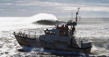 A Coast Guard crew trains on a 47' motor life boat off Manasquan Inlet, N.J. Coast Guard Station Manasquan Inlet photo.