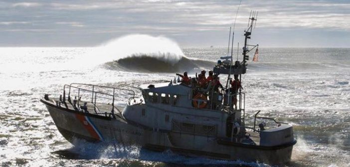 A Coast Guard crew trains on a 47' motor life boat off Manasquan Inlet, N.J. Coast Guard Station Manasquan Inlet photo.