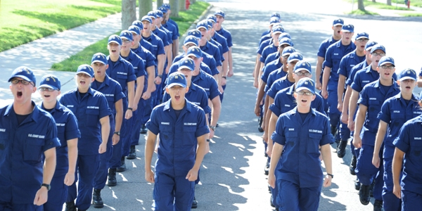 Coast Guard recruits calling a cadence. Coast Guard photo.