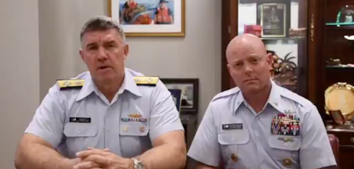 Commandant Adm. Karl Schultz (left) delivered a message on Twitter concerning the government shutdown. Coast Guard image