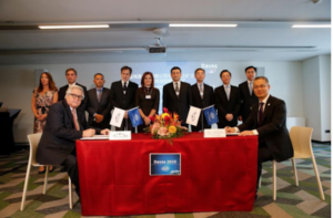 At a signing ceremony last week in Davos, Switzerland, Cosco Shipping Ports inked a deal to build Chancay Terminal into an important gateway port in Peru. Cosco Shipping Ports photo