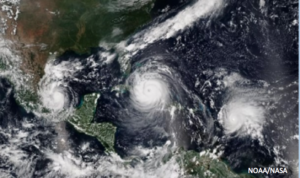 A satellite image captured three hurricanes Sept. 8, 2017: Katie, Irma, and jose. NOAA/NASA image.