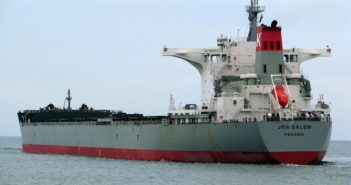 The bulk carrier JSW Salem ran aground Jan. 10 off Virginia Beach, Va. Shipspotting photo.