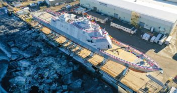 The littoral combat ship St. Louis was christened in December at Fincantieri Marinette Marine. Navy photo.