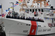 The crew of the Coast Guard cutter Lawson at its commissioning in March 2017 at Cape May, N.J. Kirk Moore photo.