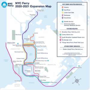 The NYC Ferry system will be serving all five New York City boroughs in 2020. NYEDC image.