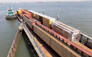 A rail barge in operation at the New York New Jersey Rail yard in Jersey City, N.J. NYNJR photo.