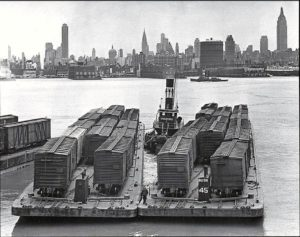 Rail barges crossing the Hudson River in 1936. New York State Archives.