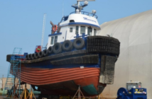 The tugboat Ocean Monarch hauled out for repairs after it was damaged in a July 2017 grounding. Transportation Safety Board of Canada.
