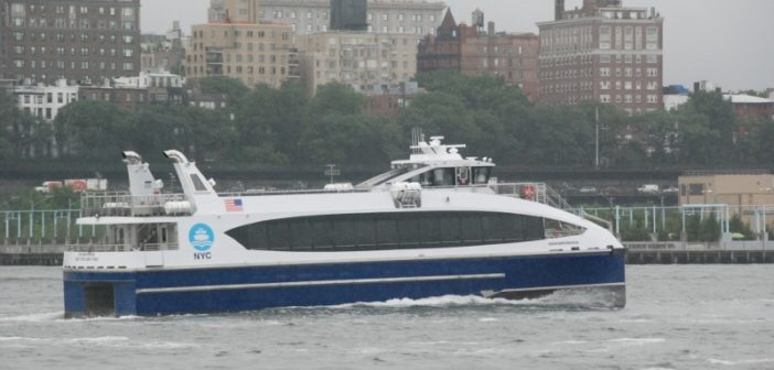 The Ocean Queen Rockstar, first of six 350-passenger vessels built for NYC Ferry by Metal Shark, in New York's East River. Kirk Moore photo.