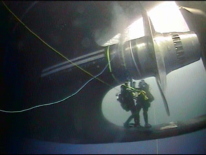 Divers repair a shaft seal on the Coast Guard icebreaker Polar Star off Antarctica in January 2019. Coast Guard photo.