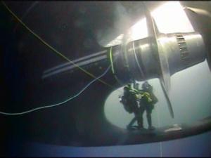 Divers repair a shaft seal on the Coast Guard icebreaker Polar Star off Antarctica in January 2019. Coast Guard photo.