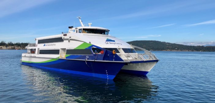 AMD designed the three 43.5 meter (142') passenger ferries for San Francisco Bay's Water Emergency Transportation Authority (WETA). Elliott Bay Design Group photo