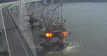 Explosive charges cut supports on the old Tappan Zee Bridge to drop the structure into the Hudson River Jan. 15, 2018. NY State Thruway Authority photo.