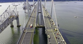 The eastern anchor span of the old Tappan Zee Bridge, left, is to be brought down with explosive charges Jan. 12. New York State Thruway Authority photo.