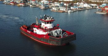 The 112'x44' tug has a 22' draft and was built for escort, ocean towing and ship assist, and has firefighting capabilities if needed. Crowley Maritime photo