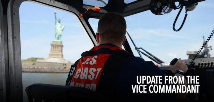 A Coast Guard Station New York boat crew member looks out toward the Statue of Liberty during Fleet Week New York, near Liberty State Park, May 29, 2016. U.S. Coast Guard photo by Petty Officer 3rd Class Frank Iannazzo-Simmons