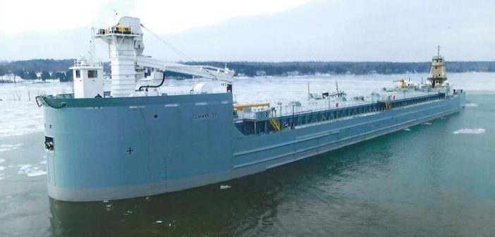 The 495' ATB barge Commander. Fincantieri Bay Shipbuilding photo
