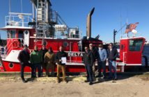 Robbins Maritime Inc., Norfolk, Va., received a Certificate of Inspection (COI) on its 78' tug Delta. Pictured left to right are Dustin Robbins, Gary Joyner, Derek Chapman, Nick Ahles, Jonathan Franchebois, Coast Guard Inspector MSS4 Dennis Croyle, Carl Baum, Charlie Foreman, Chris Guillot. Robbins Maritime photo