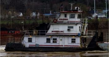 Towboat capsized on the Ohio River on Friday. Photo Courtesy of Petty Officer 3rd Class Alexandria Preston