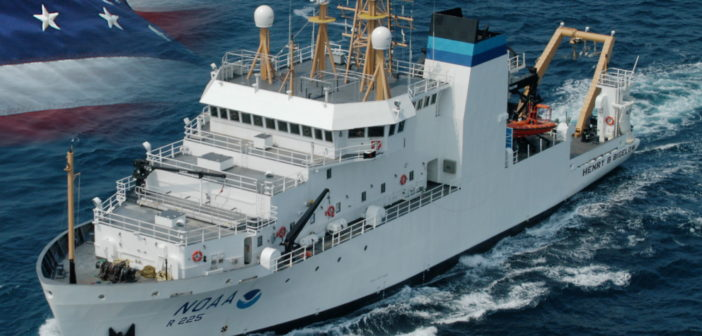 Past newbuild from VT Halter from an earlier design, NOAAS Henry B. Bigelow is a fisheries research vessel operated by NOAA. VT Halter Marine photo
