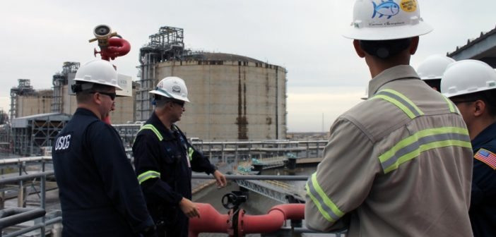 The Coast Guard Marine Safety Unit from Lake Charles, La., inpsected the Cameron LNG export facility Feb. 12. Coast Guard photo.