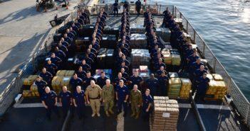 The Coast Guard cutter Forward crew with 34,780 pounds of interdicted cocaine aboard at Port Everglades, Florida, Feb. 5, 2019. Coast Guard photo/PO3Brandon Murray.
