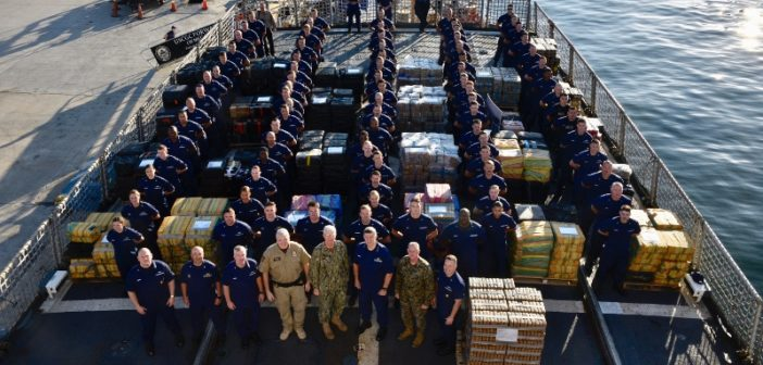 The Coast Guard cutter Forward crew with 34,780 pounds of interdicted cocaine aboard at Port Everglades, Florida, Feb. 5, 2019. Coast Guard photo/PO3Brandon Murray.