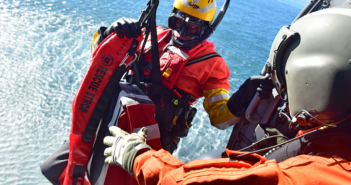 A Coast Guard crew, a vital component of SARSAT, conducts ocean search and rescue training. USCG photo