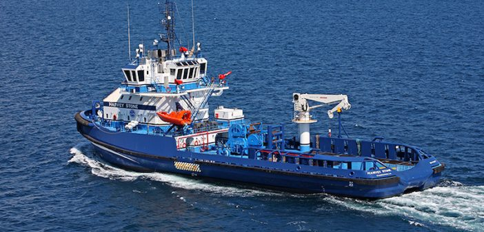 A Harvey Gulf multipurpose field support vessel working in the Gulf of Mexico. Harvey Gulf International Marine is a Louisiana company. Eastern Shipbuilding Group photo