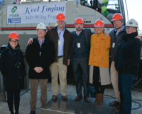 Representatives of Foss Maritime and Nichols Brothers Boat Builders celebrated laying the keel of a new ASD 90 tug Feb. 25, 2019. Foss Maritime photo.