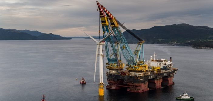A floating wind turbine is assembled for the Hywind Scotland project in 2017. Ørjan Richardsen/Woldcam photo courtesy Equinor.