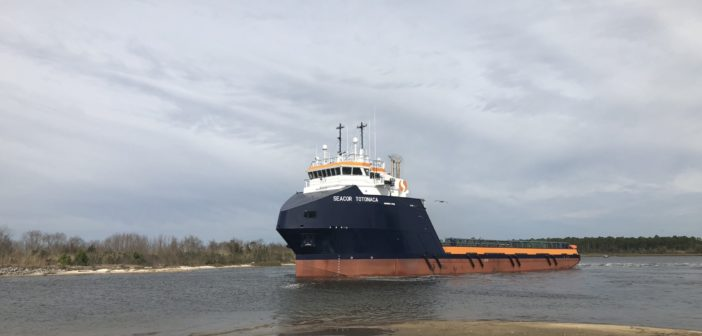 New 221' offshore support vessel was built in Alabama. Master Boat Builders photo