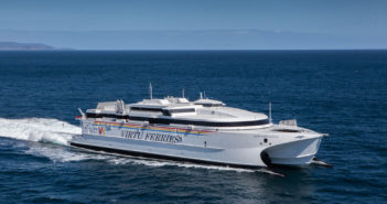 The 44th large commercial fast ferry delivered by Incat and the sixth in excess of 5,500 gross tonnes in the past decade. Incat photo