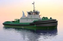Construction has commenced on the first of four ASD 90 tractor tugs being built for Foss Maritime at Nichols Brothers Boat Builders. Jensen Maritime rendering.