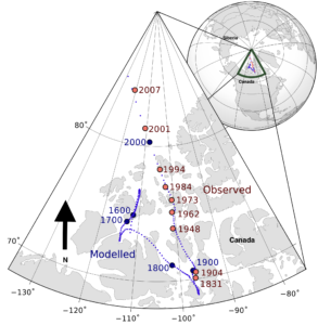 The magnetic north pole has shifted northward at an accelerating pace. Wikimedia image.