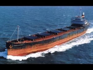 The Marine Electric, a 605-foot cargo ship, as seen underway before its capsizing and sinking on Feb. 12, 1983. The converted WWII-era ship foundered 30 miles off the coast of Virginia and capsized, throwing most of its 34 crew into 37-degree water, where 31 of them drowned or succumbed to hypothermia. Coast Guard photo.