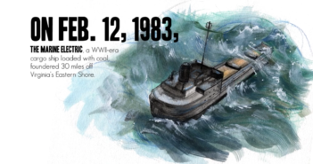 The Marine Electric sinking on Feb. 12, 1983. Coast Guard image/artwork by P02 Corrine Zilnicki.