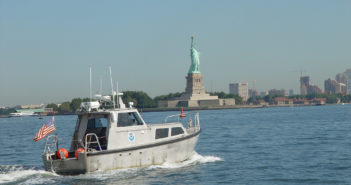 A NOAA hydrographic survey boat in New York Harbor. NOAA photo.