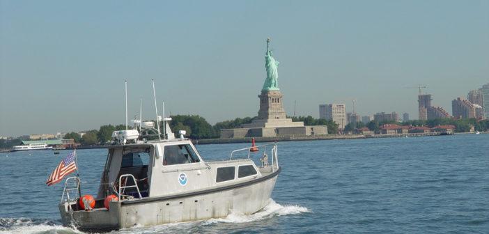 A NOAA hydrographic survey boat in New York Harbor. NOAA photo.